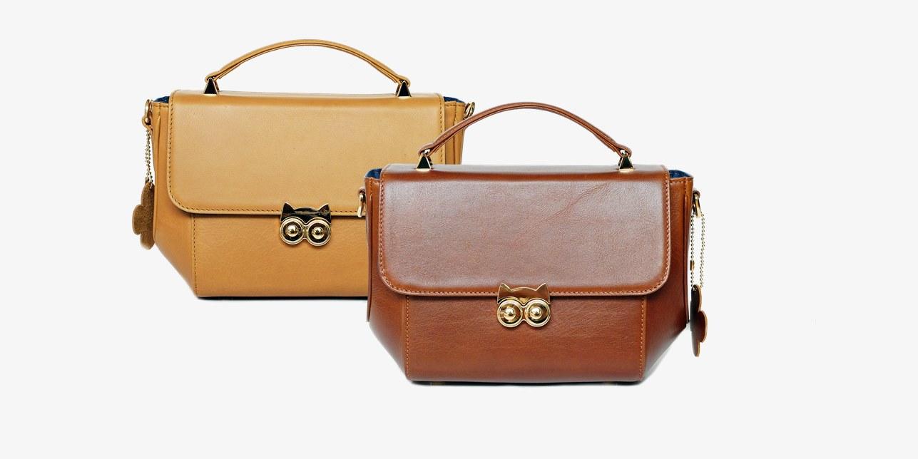 กระเป๋าถือสีเบจ และสี Chestnut หนังแท้ full grain