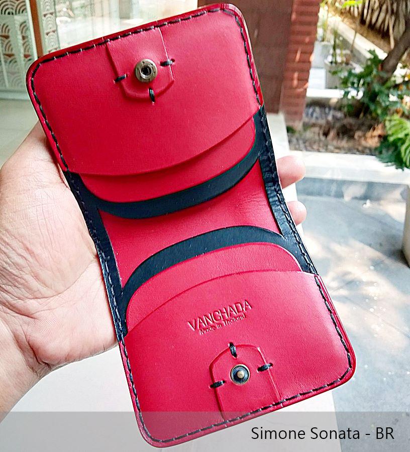 simone sonata wallet สีดำแดง