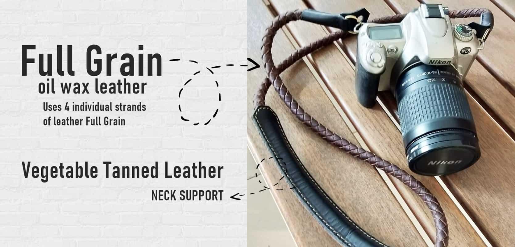 สายกล้อง แบบคล้องคอ หนังแท้ Weaving leather Rope design