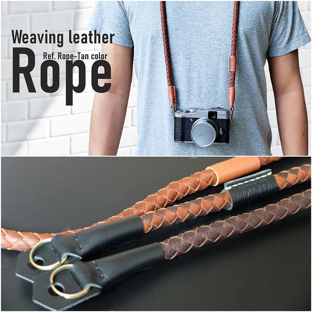 Rope Weaving camera strap สายกล้อง แบบคล้องคอ หนังแท้ handmade