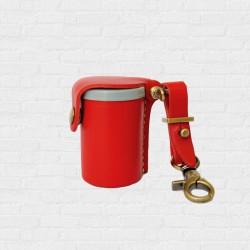 Film Case leather Handcrafts Red Color กระบอก กลักฟิล์ม หนังแท้