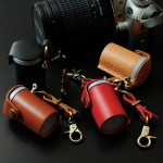 Film bottle leather Case Handcrafts 35mm. Red Color