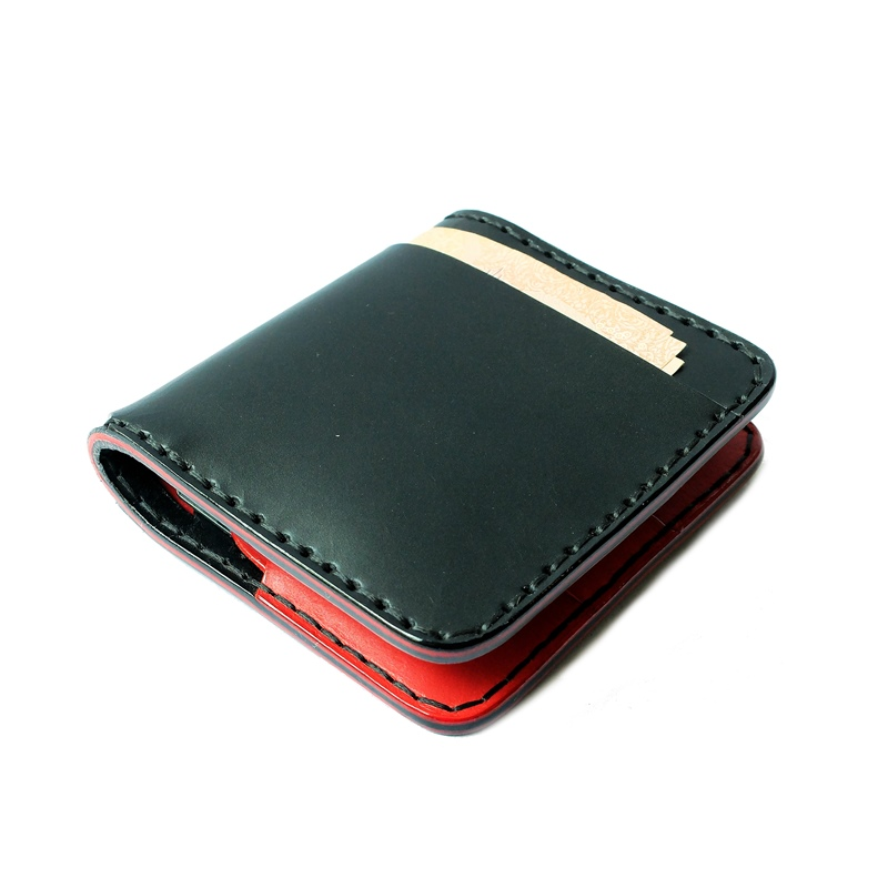 กระเป๋าสตางค์ handmade หนังแท้ Simone Sonata BR Series Wallet ผู้ชาย สีดำ-แดง