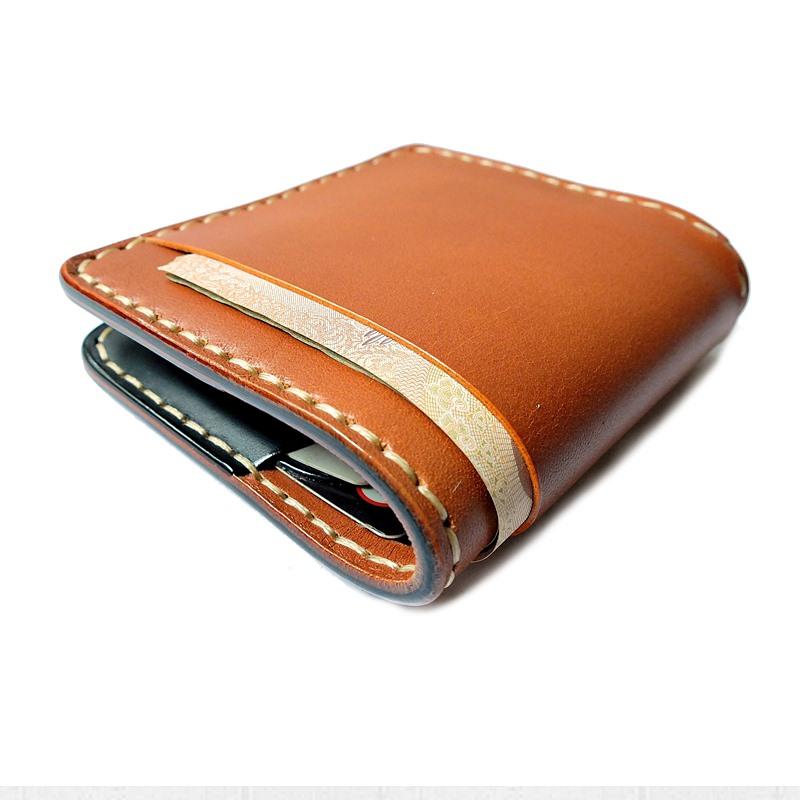 กระเป๋าสตางค์ handmade หนังแท้ Simone Sonata TB Series กระเป๋าผู้ชาย Wallet เย็บมือ สีน้ำตาลแทน-ดำ