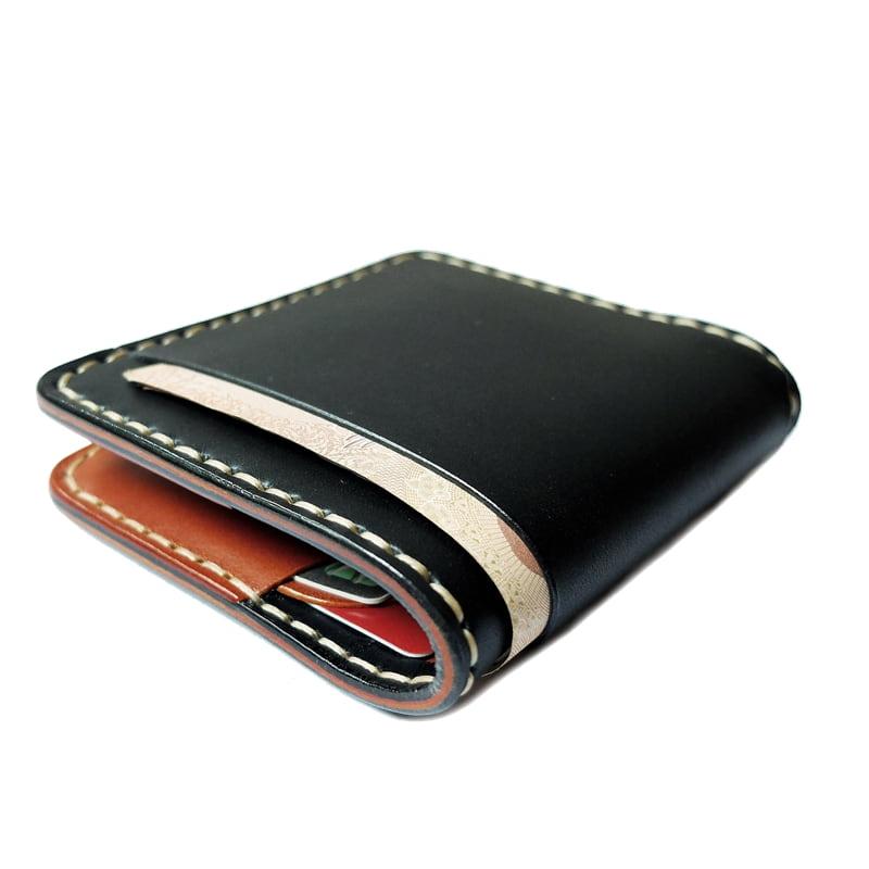 กระเป๋าสตางค์ handmade หนังแท้ Simone Sonata BT Series กระเป๋าผู้ชาย Wallet เย็บมือ สีดำ-น้ำตาลแทน