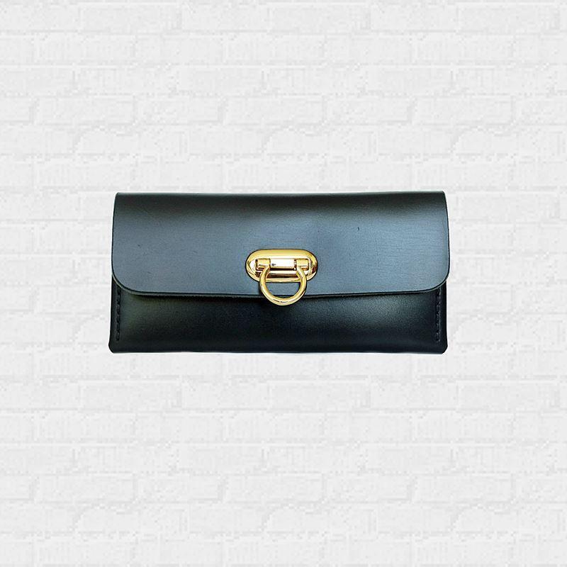 กระเป๋าสีดำ หนังแท้  Minimal Wallet ferro di cavallo Design black color
