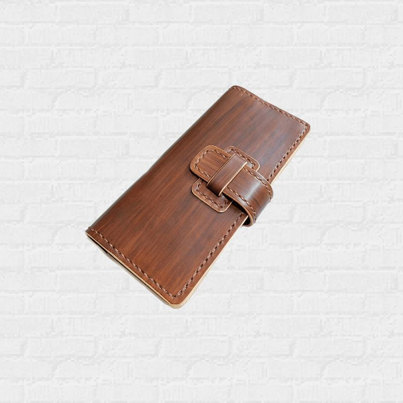 Timber Retro Wallet หนังแท้ฟอกฝาด Handmade ทำสีลายไม้