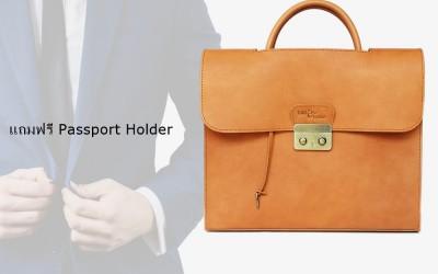 กระเป๋าหนังแท้ ใส่เอกสาร  สำหรับวันทำงาน แถมฟรี