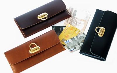 กระเป๋าธนบัตรใบยาว สำหรับผู้หญิง คัทติ้งเนี๊ยบ จากหนังออยพูลอัพ