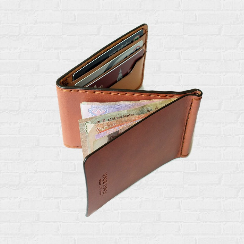 Z. Wallet Saddle Tan 2-Tone  Money Clip Bi-fold V3.1 Handmade สำหรับผู้ชาย