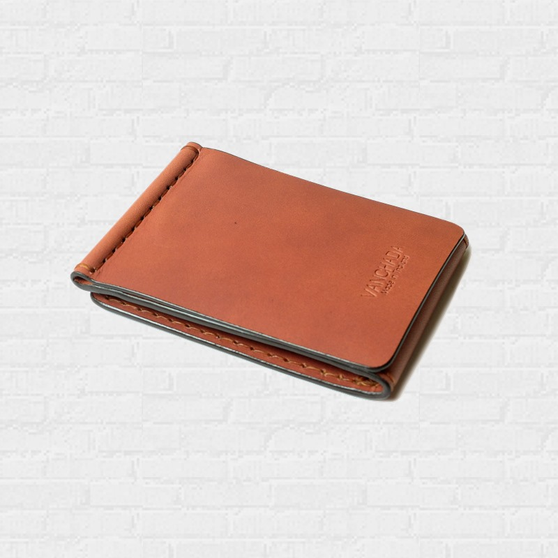 Z.Wallet  Saddle Tan Wallet Money Clip Bi-fold V3.1 Dark Brown  Handmade สำหรับผู้ชาย
