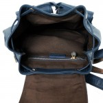 Backpack Calfskin Navy Blue Bucket style
