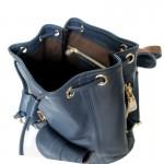 กระเป๋าเป้ ใบเล็ก Calfskin Navy Blue Bucket style Backpack