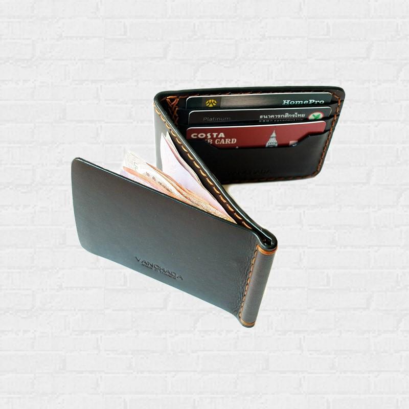 Z.Wallet Money Clip Bi-fold V3.1  Dark Brown  Handmade สำหรับผู้ชาย