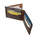 กระเป๋าผู้ชาย Wallet Money Clip Bi-fold V3  Rusty Dark Brown  Handmade