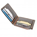 Z.Wallet กระเป๋าผู้ชาย Money Clip Bi-fold V3  Rusty Dark Brown  Handmade