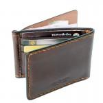 Z.Wallet กระเป๋าผู้ชาย Money Clip Bi-fold V3  Rusty Dark Brown  Handmade
