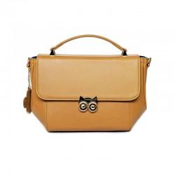 กระเป๋าถือหนังแท้ สำหรับผู้หญิง Handbags leather รุ่น OWL handbag Golden Yellow