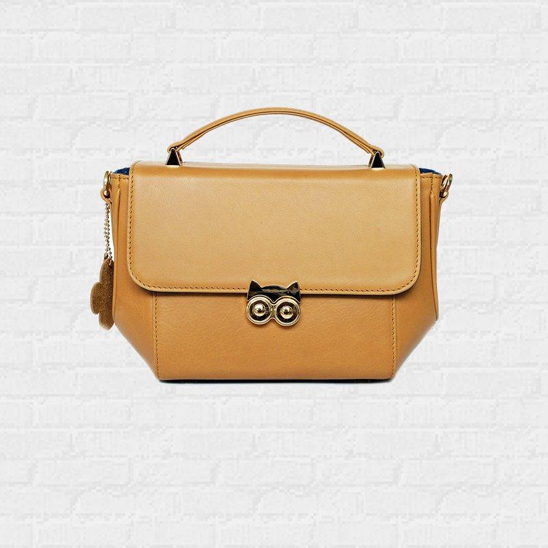 กระเป๋าถือหนังแท้ ใบเล็ก Mini Handbag OWL Cowhide Golden Yellow