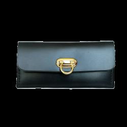 กระเป๋าใบยาว สีดำ หนังแท้ สำหรับผู้หญิง Minimal Wallet ferro di cavallo Design black color