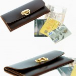 Minimal Wallet ferro di cavallo Design Dark Brown color