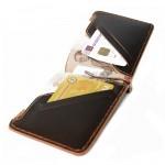 กระเป๋าธนบัตร สำหรับผู้ชาย Wallet Money Clip Rusty Dark Brown หนังแท้เย็บมือ
