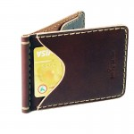 กระเป๋าผู้ชาย หนังแท้ Handmade Wallet Money Clip Rusty Red