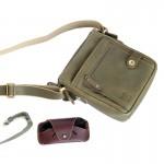 กระเป๋าสะพายข้าง ผู้ชาย หนังแท้ สีเขียว Admin Military  Veg.Version Crossbody bag