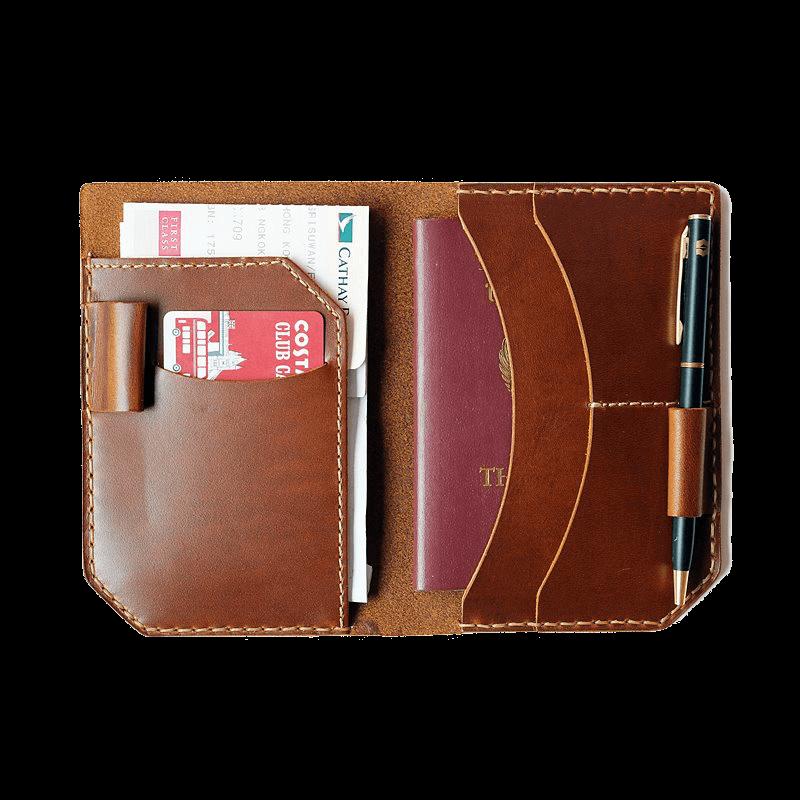 Passport Holder With Pen Slot ใส่หนังสือเดินทาง Genuine Leather