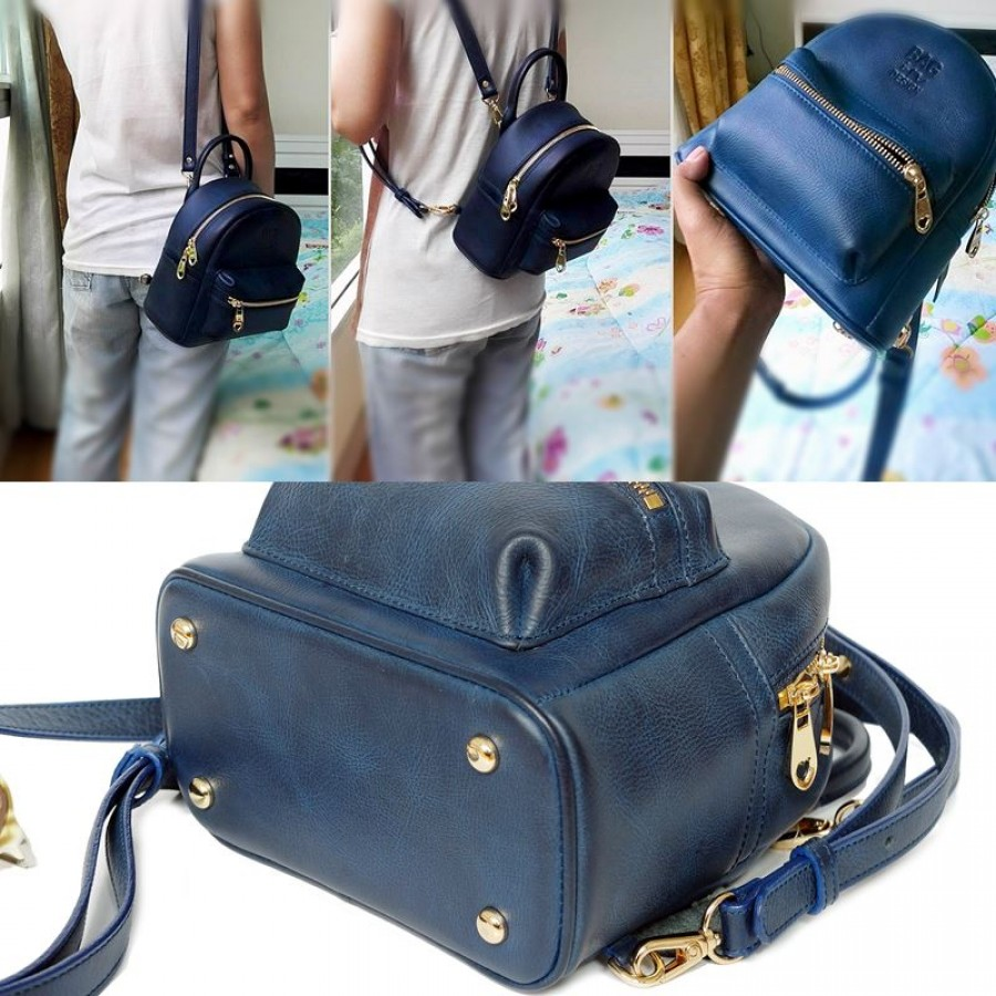 92875fb6cd สีน้ำเงิน Blue SR2 กระเป๋าเป้หนังแท้ แฟชั่น สำหรับผู้หญิง Bluesr2 ...