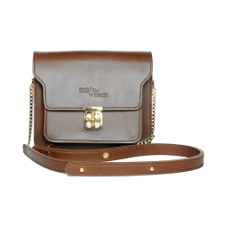 กระเป๋าสะพายใบเล็ก หนังแท้ สำหรับผู้หญิง HELM COMPASS  Brown