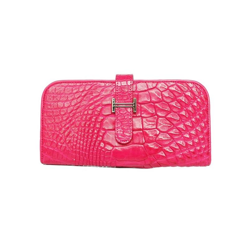กระเป๋าหนังจระเข้แท้ Wallet Paddock Crocodile Pink-1