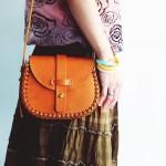 กระเป๋าผู้หญิง สะพายไหล่  ทรง Weave Saddle bag หนังแท้ฟอกฝาด