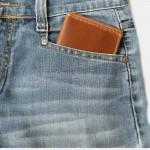 กระเป๋าสตางค์ ผู้ชาย แบบ Money Clip Wallet V.2  Card Slide  Handmade